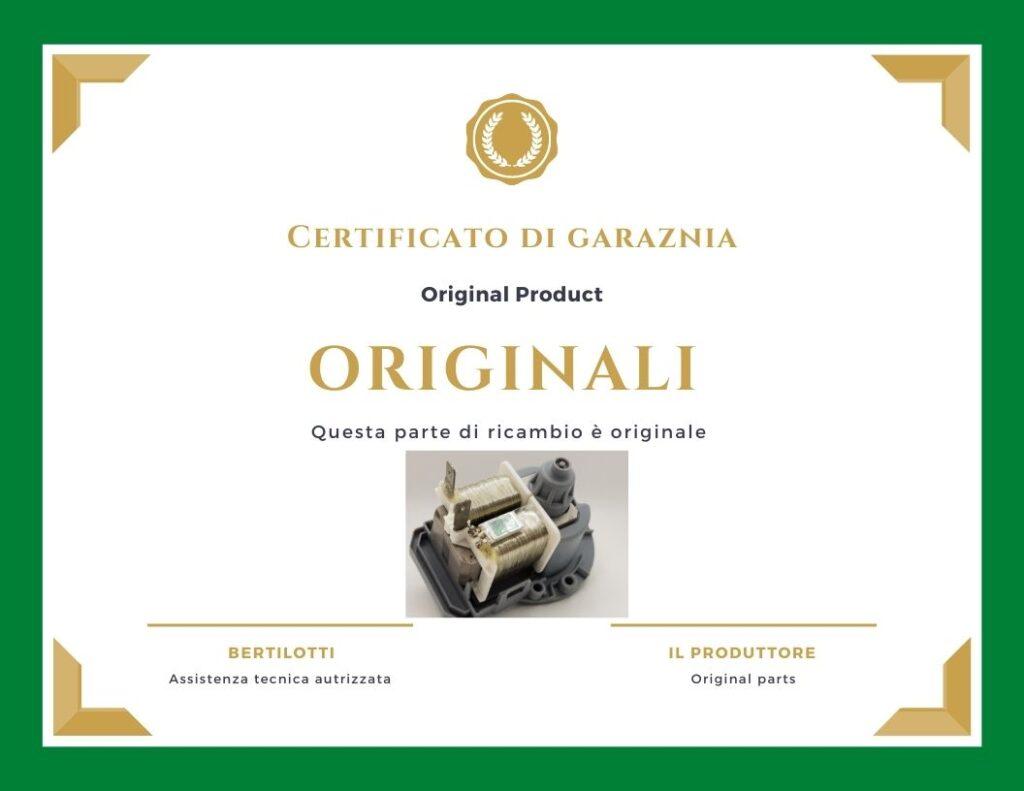 Bertilotti certificato ricambi ordiginali